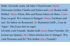 A1 Setzen Sei die richtigen Possessivpronomen in den Text ein.