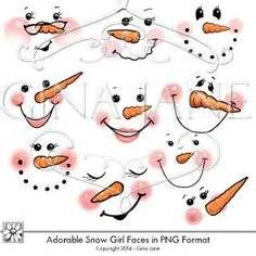 Cute Snowman Faces Clip Art for Girls. Faces of Girl Snowman Snow Woman and… Snowman Faces, Cute Snowman, Snowman Crafts, Christmas Projects, Holiday Crafts, Snowmen, Noel Christmas, Christmas Ornaments, Face Stencils
