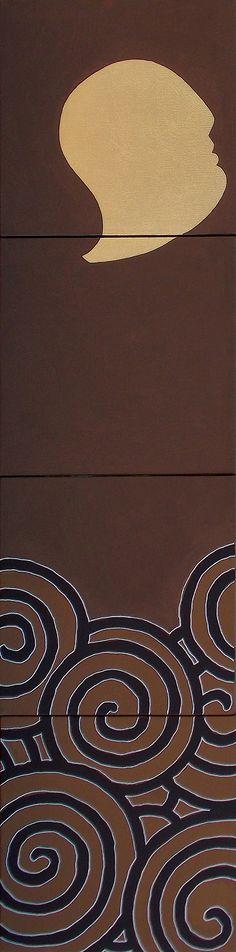 """andrea mattiello """"Gold""""  acrilico e foglia oro su tela cm 20x80 (4 tele cm 20x20); 2013"""