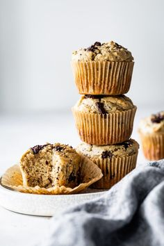 These gluten-free healthy banana chocolate chip muffins with tahini are naturally sweetened and packed with protein. They're tender and moist with a chewy crumb and just the right amount of chocolate. Healthy Breakfast Muffins, Breakfast Cake, Breakfast Recipes, Gluten Free Banana, Gluten Free Muffins, Muffin Recipes, Baking Recipes, Banana Chocolate Chip Muffins, Chocolate Chips