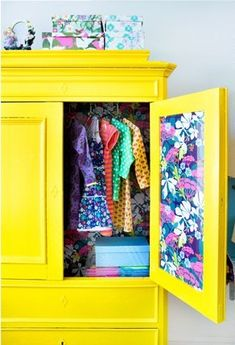 Bright yellow wardrobe with vintage wallpaper. Superb way to use old furniture in a funky space.>>> I wouldn't do it in yellow, but fun idea! Old Furniture, Painted Furniture, Recycled Furniture, Cheap Furniture, Luxury Furniture, Furniture Ideas, Modern Furniture, Ideas Armario, Kids Interior