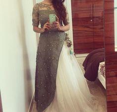 #pintrest@Dixna deol Indian Gowns, Pakistani Dresses, Indian Wear, Ethnic Outfits, Indian Outfits, Indian Clothes, Lehenga Designs, Party Wear Dresses, Indian Designer Wear