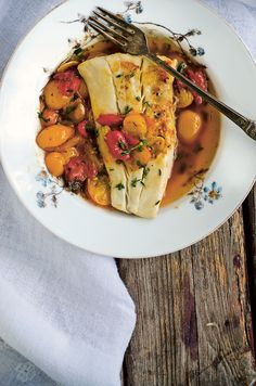 Pan-seared Halibut with Melted Cherry Tomatoes and Tarragon
