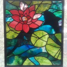 Excited to share the latest addition to my #etsy shop: Waterlilly Stained Glass Panel http://etsy.me/2EtIl0W #art #mixedmedia #blue #pink #fulcrumglass #stainedglass