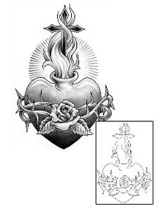 "I would want this, only with a banner that says ""chingona"" or ""chicana"" instead of the thorns. Sacred Heart Tattoos SAF-00100 Created by Sage O'Connell"