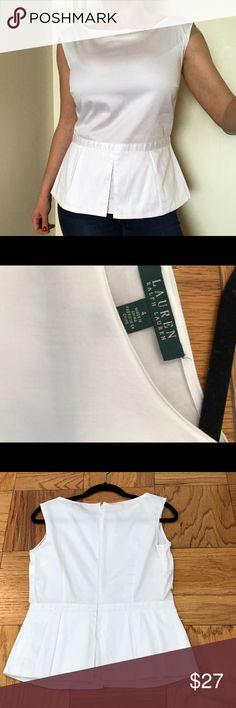 🚫SOLD🚫LAUREN Ralph Lauren white peplum top LAUREN Ralph Lauren white peplum top. Size 4. 97% Cotton, 3% elastane. Lined. Zips in the back. Excellent condition. Worn only once. Lauren Ralph Lauren Tops Tunics