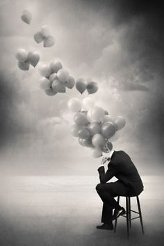 ♂ Dream imagination surrealism surreal art Black and white Floating thoughts...