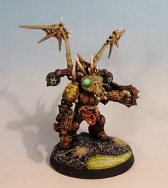 Warhammer 40K Chaos Space Marine Painted Nurgle Lord Conversion w Power Fist | eBay