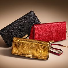 Leather clutch bags in vibrant shades from the Burberry A/W13 accessories collection  #WomenFashion