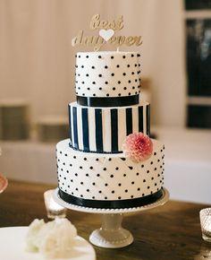 Polka dot and stripes wedding cake with an adorable cake topper #wedding #weddingcake #cake #polkadot #stripes