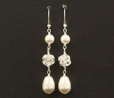 Rhinestone and Pearl Earrings, Dangles, Swarovski Crystal Rhinestone