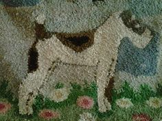 "From Tallulah's Antique Closet ~ ""This little guy must be a terrier of some kind. I think it might be from the 20s or 30s. If you are thinking of collecting vintage hooked rugs be aware they reproduce them to look old. So try and do your home work before buying or purchase from a dealer who has knowledge of rugs."""