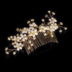 TREAZY Gold Color Handmade Women Imitation Pearl Crystal Wedding Hair Combs Hairpins Bridal Hair Jewelry Hair Accessories