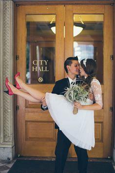 just married! city hall wedding - photo by christy cassano-meyer Civil Wedding, Elope Wedding, Wedding Poses, Wedding Tips, Wedding Styles, Dream Wedding, Wedding Day, Budget Wedding, Wedding Dresses