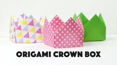 These are the instructions to make an origami crown box, these boxes can be used as lids to!  ⬇OPEN ME ⬇ This pretty simple origami boxes can be stacked tog...