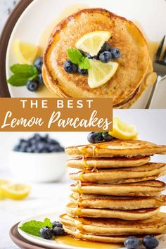 The BEST Lemon Pancakes recipe made with Greek Yogurt Lemon Pancakes, Yogurt Pancakes, Lemon Yogurt, Greek Yogurt, Quick Family Meals, Kid Friendly Dinner, Bread Rolls, Breakfast Ideas, Food To Make