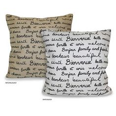 A French countryside-inspired design graces this French Words pillow to instantly add a touch of vintage class to your home. This decorative pillow features a natural-colored background and black print. Rain Shower Bathroom, French Words, French Script, Burlap Sacks, French Countryside, Pillow Talk, Home Decor Outlet, Types Of Fashion Styles, Decoration