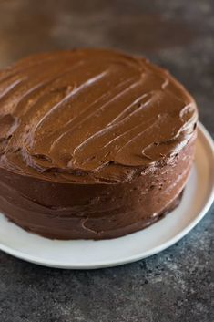 """Hershey's """"perfectly chocolate"""" chocolate cake with 5 ingredient chocolate frosting is our favorite homemade chocolate cake recipe. Hershey Chocolate Cakes, Chocolate Cake From Scratch, Homemade Chocolate Frosting, Perfect Chocolate Cake, Gluten Free Chocolate Cake, Chocolate Delight, Dark Chocolate Cakes, Chocolate Flavors, Chocolate Desserts"""