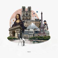 City Collage Series on lucy naland design City Collage, Collage Art, Travel Collage, Image Collage, Photomontage, Photoshop, Desing Inspiration, Arte Van Gogh, Arte Indie