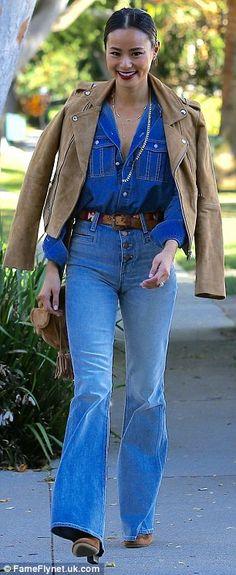 Seventies-chic: The actress wore a retro denim-on-denim look...