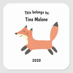 This Belongs to Back to School Running Fox White Square Sticker weightloss running plan, running style, tips for running a 5k #fit #runninggirl #liftingweights, back to school, aesthetic wallpaper, y2k fashion Name Stickers, Kids Stickers, Custom Stickers, Baby Girl Gifts, New Baby Gifts, Running Workout Plan, Maze Runner Quotes, New Teachers, Forest Animals