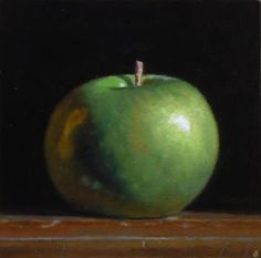 """Jeffrey Hayes, Green Apple No. 2 """"Green Apple No. Oil on Panel, inches, 2010 Living Room Trends, Living Room Interior, In A Little While, Temporary Wall, Perfect Foundation, Hyperrealism, Colorful Chairs, Color Studies, Chiaroscuro"""