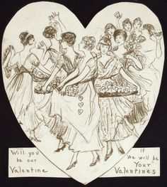 The Congressional Union for Woman Suffrage sent this valentine to President Woodrow Wilson in The little hearts the women carry are votes. Valentines Flowers, Valentines Day Hearts, Vintage Valentines, Women In History, Art History, Romance And Love, Vintage Cards, Sassy, Needlework
