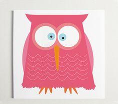 Nursery -pretty in Pink Owl Wall Art  10 x 10 by ModernPOP on Etsy, $30.00