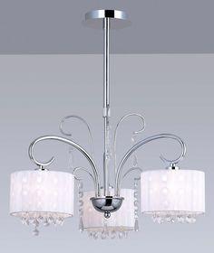 Dekoracyjna LAMPA wisząca SPAN MDM1583/3 Italux abażurowa OPRAWA kryształki nowoczesny ŻYRANDOL glamour organza chrom biała