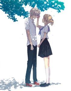 ✮ ANIME ART ✮ anime couple. . .romantic. . .love. . .sweet. . .handkerchief. . .school uniform. . .seifuku. . .sailor uniform. . .tree. ..shadows. . .cute. . .kawaii