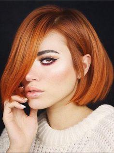Headband Hairstyles, Pretty Hairstyles, Bob Hairstyles, Red Hair Color, Hair Color Balayage, Haircuts For Curly Hair, Curly Hair Styles, Cooper Red Hair, Copper Bob Hair