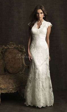 I really like this one - might be my favorite.  I like the waistline and the lace.  I like the fullness of the skirt.  On the top, we would just need to ensure that my shoulders are covered and the neckline doesn't go too deep.