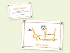 Invitación Vera, de Banani para InviteMe. Plano y tarjeta de regalo de boda.