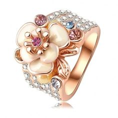 LZESHINE Hot Sale Jewelry Ring Rose Gold Plated Austrian Crystal Enamel Flower Wedding Ring For Women aliancas Ri-HQ0155