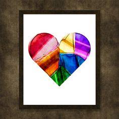 Multicolor heart Valentine's day gift by WhatAPrintableWorld