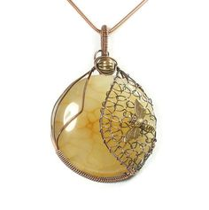 Honey Bee Pendant Yellow Stone Pendant by whitecloverstudios