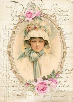 Decoupage Vintage, Decoupage Paper, Vintage Crafts, Vintage Ephemera, Victorian Paintings, Rose Cottage, Vintage Images, Decoration, Photo Art