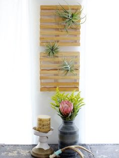 """DIY mini """"shipping pallets"""" (made from paint stir sticks!) everything is cuter in miniature! Paint Stir Sticks, Painted Sticks, Diy Hanging Shelves, Diy Wall Shelves, Diy Projects To Try, Craft Projects, Paint Stirrers, Diys, Shipping Pallets"""