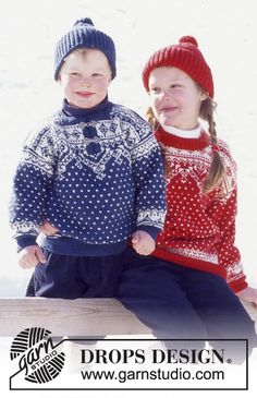DROPS Sweater and hat in Karisma Superwash with snow crystals and dots. Free pattern by DROPS Design.