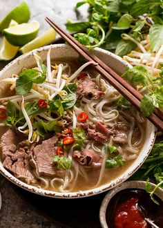 Beef Pho in a bowl, ready to be eaten Asian Recipes, Beef Recipes, Soup Recipes, Cooking Recipes, Healthy Recipes, Ethnic Recipes, Beef Pho Soup Recipe, Vietnamese Pho Soup Recipe, Pho Recipe Oxtail