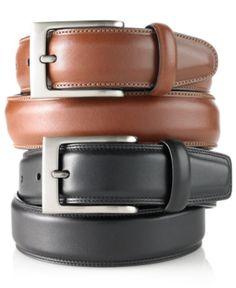 Perry Ellis Men's Big and Tall Full Grain Leather Belt  - Brown 50