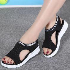 Women s sandals 2018 summer platform breathable comfort walking sandals Cute Sandals, Shoes Sandals, Women Sandals, Shoes Women, Ladies Shoes, Gladiator Sandals, Sandal Heels, Flat Sandals, Strap Sandals