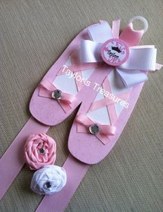 Taylors Treasures  - Ballerina Ballet Shoes - Hair Bow Holder - Any Color or Pattern -  Personalized With Any Name
