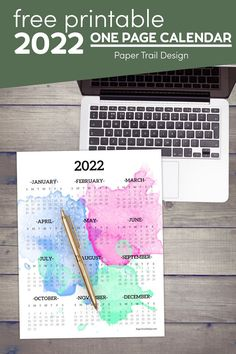 Free printable 2022 year at a glance calendar in watercolor design. Print this 12 month calendar on one page. Free Printable Calendar Templates, Blank Calendar Template, Printable Planner Pages, Printable Wall Art, Free Printables, At A Glance Calendar, 12 Month Calendar, Calendar Pages, Custom Calendar