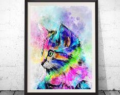 Kat kunst kat print, kat schilderij, cat poster, kat wand decor, dierlijke kunst, aquarel kat, kinderkamer kunst aan de muur, aquarel, dieren, dierlijke afdrukken