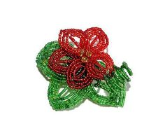 French Beaded Red Flower Brooch with Leaves by BeadedGardenCanada Beaded Flowers, Red Flowers, Kids Jewelry, Jewelry Accessories, Floral Pins, Bonsai Trees, Flower Brooch, Red Green, Vines