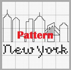 New York City Skyline - New York - Big Apple - New York Silhouette Cross Stitch Pattern Cross Stitching, Cross Stitch Embroidery, Cross Stitch Patterns, New York Theme Party, Skyline, Apple New, Perler Patterns, Back Stitch, Through The Looking Glass