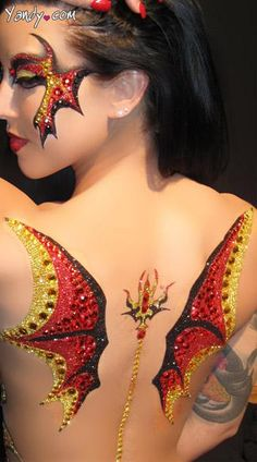 Find sexy lingerie accessories and other bedroom accessories that'll spice up your sheets and embarrass your nightshade. Demon Wings, Lingerie Accessories, Costume Makeup, Body Painting, Human Body, Spice Things Up, Body Art, Halloween Face Makeup, Painted Faces