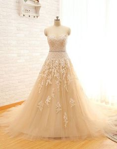 Sweetheart Lace Tulle Wedding Dresses,A-Line Bridal Gowns,Vintage Wedding Dress,Champagne Wedding Gowns, Bridal Dresses