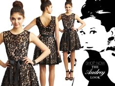 Camille La Vie Black Lace Short Dress that's very similar to Audrey Hepburn style